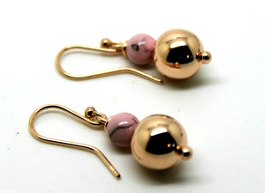 9CT ROSE GOLD 10MM BALL + 6MM ROUND PINK BALL EARRINGS *FREE EXPRESS POST TO OZ*