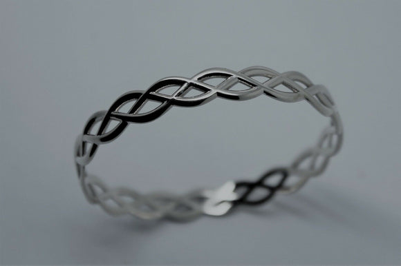 Kaedesigns Full Solid Genuine 375 9ct 9kt WHITE gold CELTIC KNOT OVAL BANGLE