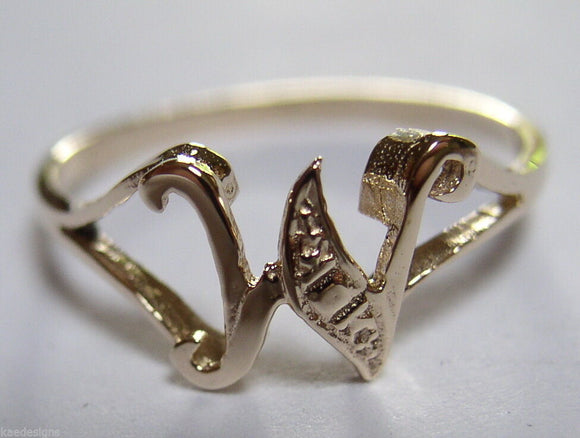 KAEDESIGNS, GENUINE, SOLID YELLOW OR ROSE OR WHITE GOLD 375 INITIAL RING W