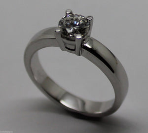 GENUINE 18ct SOLID WHITE GOLD ROUND CUT ENGAGEMENT RING SIZE J 1/2