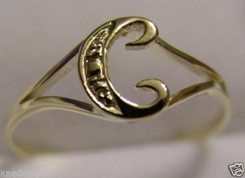 KAEDESIGNS, GENUINE, SOLID YELLOW OR ROSE OR WHITE GOLD 375 INITIAL RING C