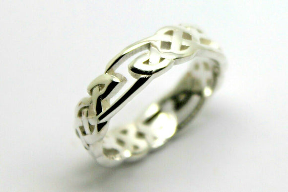 Size N / 6.5 Sterling Silver 925 Celtic Weave Ring *Free Express Post In Oz