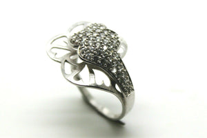 18ct Four Leaf Clover Cubic Zircon White Gold Dress Ring*Free Express Post In Oz