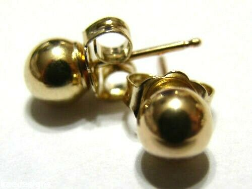 New Kaedesigns Genuine 14ct Solid Yellow Gold 6mm Stud Ball Earrings