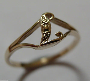 KAEDESIGNS, GENUINE, SOLID YELLOW OR ROSE OR WHITE GOLD 375 INITIAL RING L
