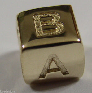 GENUINE 9ct Yellow or Rose or White Gold or Silver A,B,C,D or symbol  BEAD