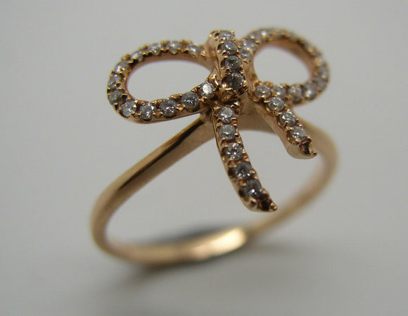 GENUINE NEW 18CT DELICATE ROSE GOLD DIAMOND BOW RING *FREE EXPRESS POST IN OZ*