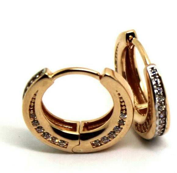 9ct ROSE GOLD HOOP CZ EARRINGS*FREE EXPRESS POST