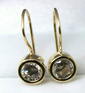 Genuine New 9CT YELLOW GOLD ROUND STONE SOLITAIRE EARRINGS
