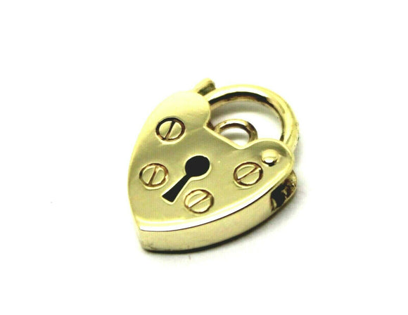 SMALL 10MM 9ct YELLOW GOLD SCREW HEART PENDANT PADLOCK  *Free express post in oz