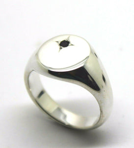 SOLID STERLING SILVER OVAL BLACK SAPPHIRE SIGNET RING*FREE EXPRESS POST IN OZ*