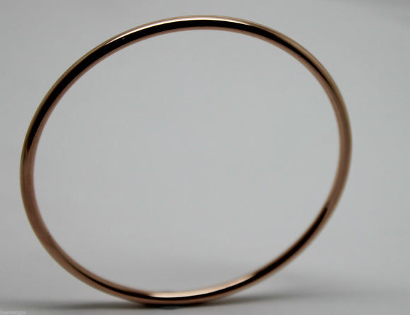 9ct Rose gold 3mm wide Hollow GOLF bangle 64mm diameter *FREE EXPRESS POST IN OZ