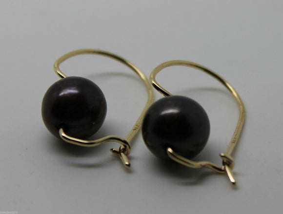 GENUINE NEW 9CT 9KT YELLOW GOLD / 375, 10mm BLACK PEARL HOOK EARRINGS