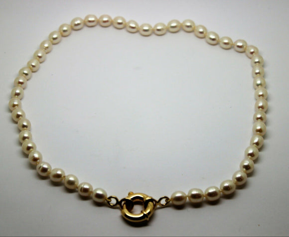 9ct Yellow Gold 18mm bolt ring freshwater pearl chain necklace