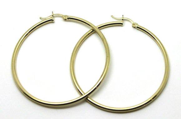 9CT YELLOW GOLD LARGE 5CM WIDE HOLLOW HOOP ROUND EARRINGS *FREE EXPRESS POST