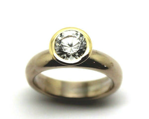 Kaedesigns, New Genuine 9ct 375 Solid White & Yellow Gold Engagement Ring 373