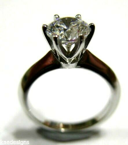 Kaedesigns New 9ct 375 Solid White Gold Claw Set Engagement Ring Size J