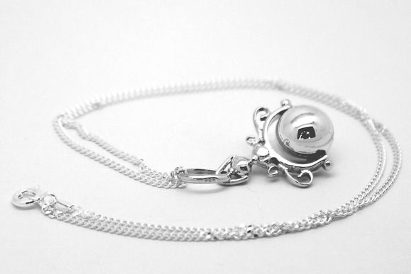 Kaedesign, Sterling Silver Chain Belcher 45cm Necklace & Ball Spinner Pendant