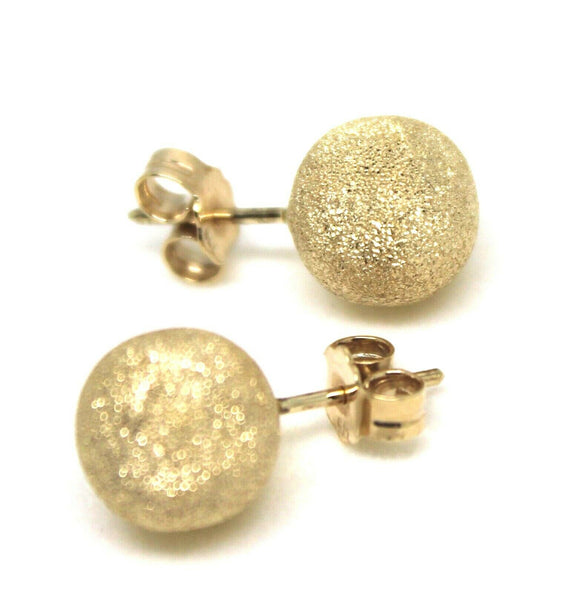 GENUINE 9CT YELLOW GOLD 10mm FROSTED STUD BALL EARRINGS