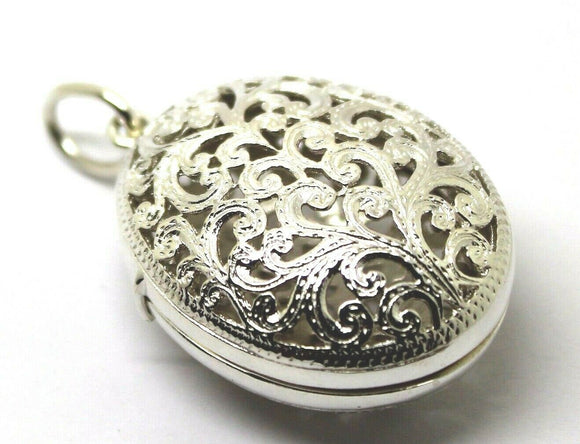 Genuine Huge Heavy Sterling Silver Filigree Oval Pendant Locket Free express post