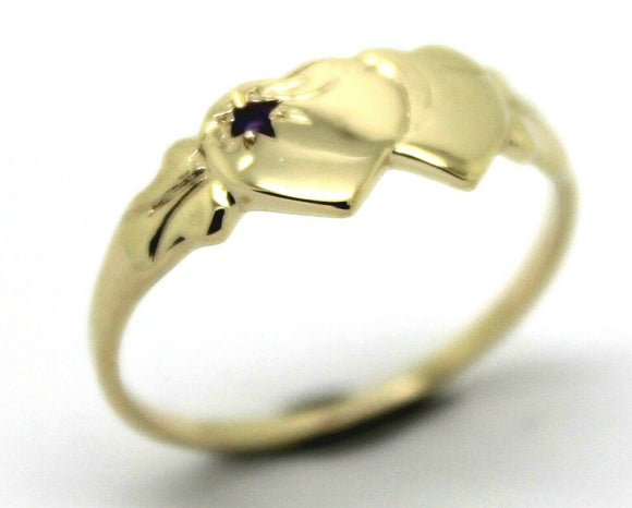 9ct Yellow Gold 375 Amethyst (Birthstone Of February) Double Heart Signet Ring