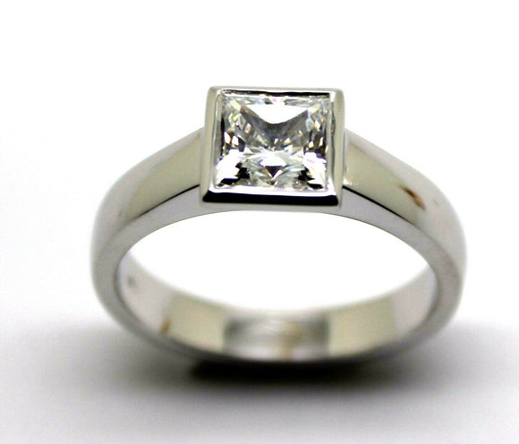 9Ct 375 Solid White Gold Heavy Solid Princess Cut Engagement Ring Size 9