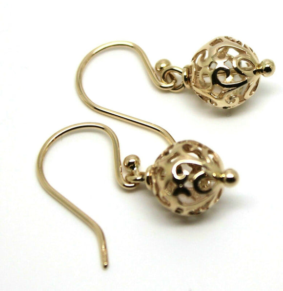 Kaedesigns, Genuine 9ct Yellow, Rose or White Gold 10mm Euro Ball Drop Filigree Earrings