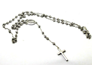 18ct White Gold Ball Rosary Bead Chain 44cm 7.66g *FREE EXPRESS POST IN OZ