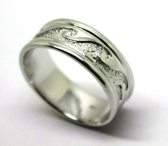 Kaedesigns, Solid Heavy Genuine 9ct White Gold Mens Surf Wave Ring Size T 258