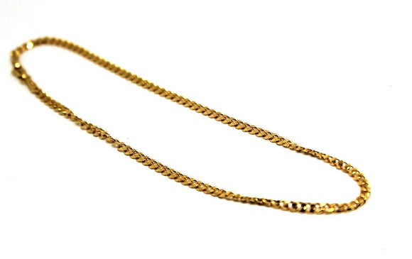 9ct Solid Yellow Gold 25cm Kerb Curb Anklet Belcher