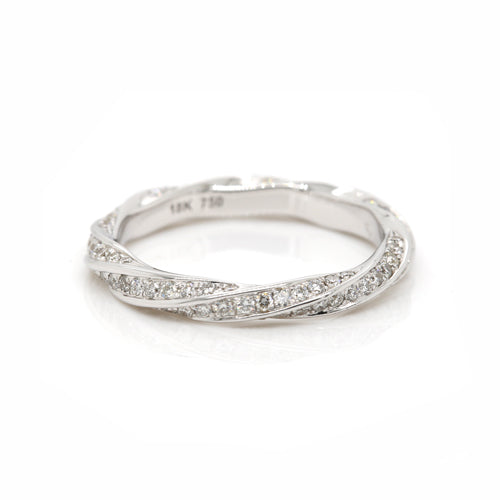 Genuine 0.641cts SIze G 18K White Gold SI Diamond Eternity Ring or dress band