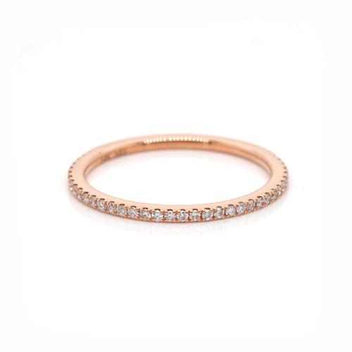 Genuine 14K 14ct Rose Gold Delicate Diamond Eternity Ring band 1.0mm x 37RBC SI/G