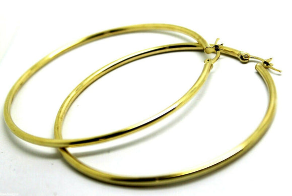 9CT YELLOW GOLD LARGEST 6.3CM WIDE HOLLOW HOOP ROUND EARRINGS