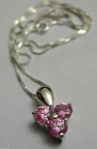STERLING SILVER PINK STONE PENDANT & SILVER CHAIN *FREE EXPRESS POST IN OZ