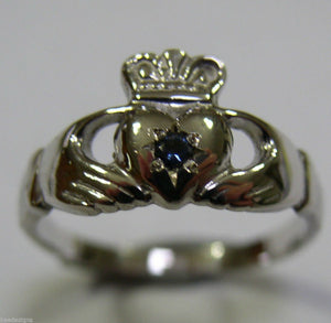GENUINE 9CT WHITE GOLD CEYLON SAPPHIRE (BIRTHSTONE OF SEPTEMBER) CLADDAGH RING