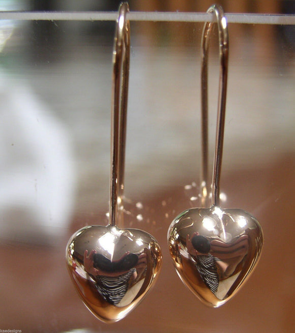 Kaedesigns New 9ct 9k Rose Gold Dangle Puffed Heart Long Hooks Earrings