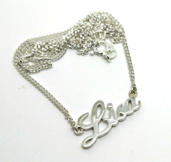 925 Sterling Silver Curb Link Chain Lisa Name Plate