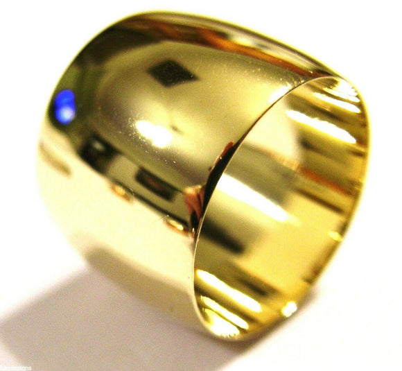 Genuine 9ct 9kt Yellow Gold Full Solid 16mm Wide Band Ring Size R
