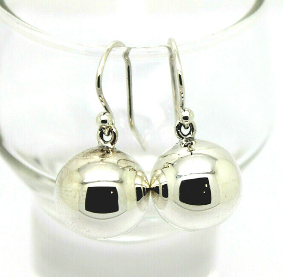 Genuine Large Sterling Silver 14mm Ball Drop Earrings