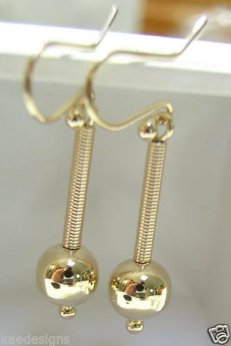Kaedesigns, Genuine 9ct 9kt Yellow, Rose & White Gold Spinning 8mm Ball Drop Earrings