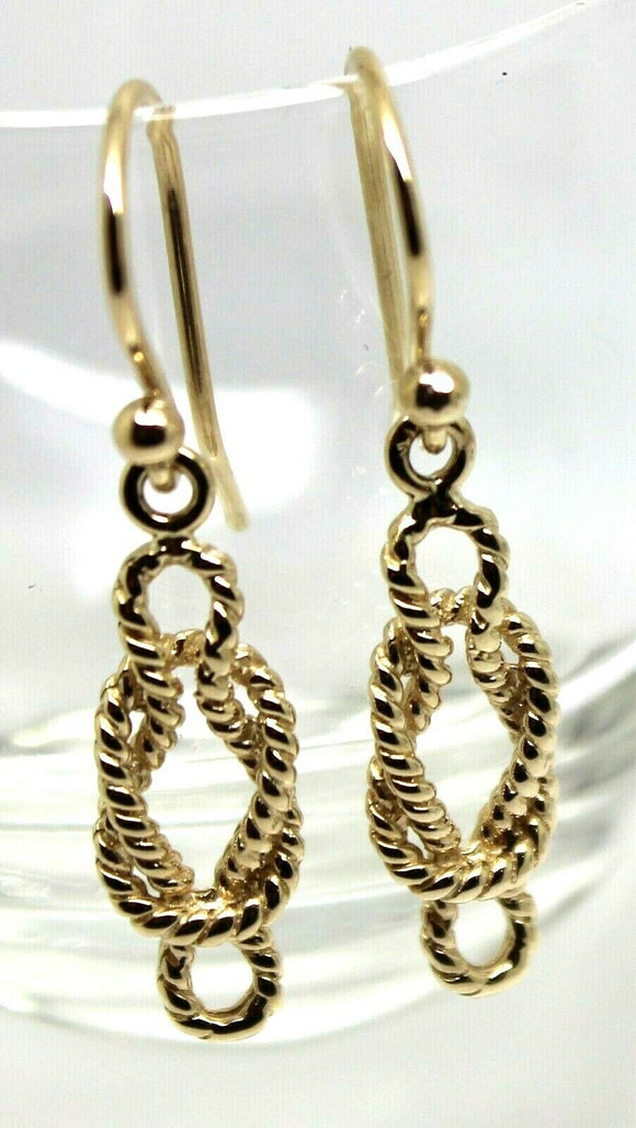 Genuine New 9ct Yellow, Rose or White Gold Swirl Knot Hook Earrings