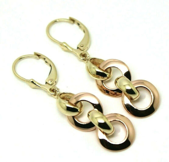 KAEDESIGNS 9CT ROSE & YELLOW GOLD 10MM CIRCLE BELCHER EARRINGS CONTINENTAL HOOKS