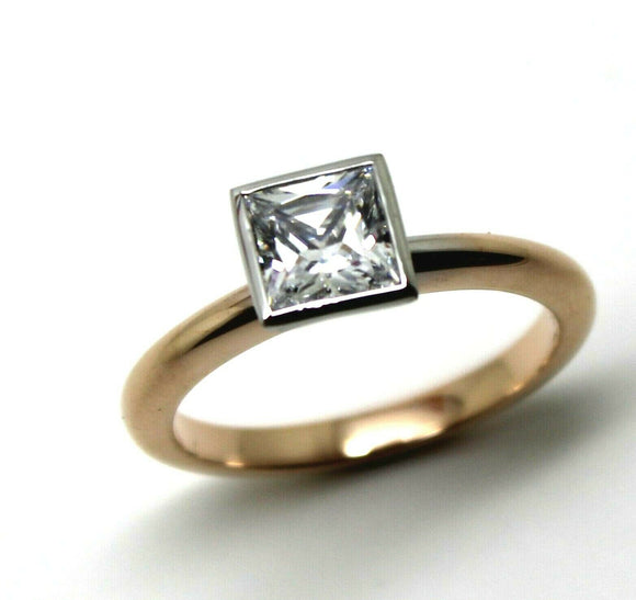 Kaedesigns New Genuine 9ct Rose & White Gold 1ct Princess Cut Engagement Ring