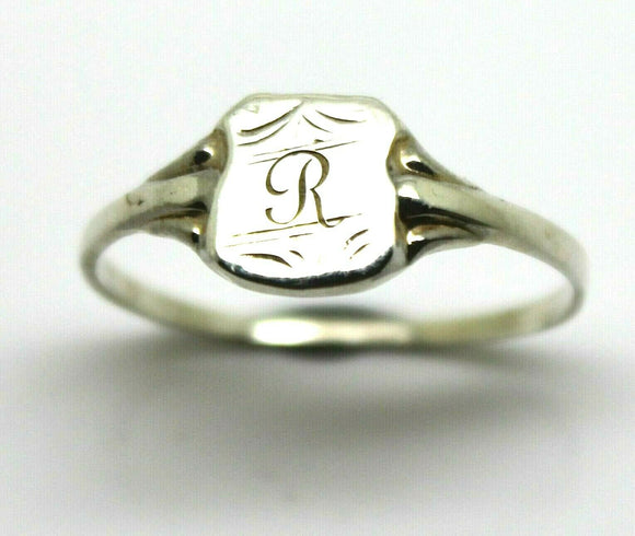 Size S SMALL STERLING SILVER SHIELD SIGNET RING - Engraved with your initial