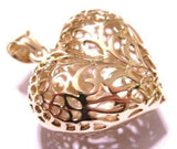 Kaedesigns, Genuine 9ct 9kt Large Yellow, Rose or White Gold Filigree Bubble Heart Pendant