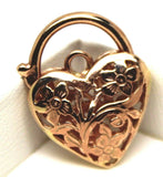 9ct 21mm Yellow, Rose or White Gold Filigree Heart Pendant / Padlock
