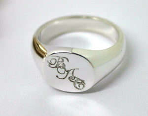 Engraved BAC Sterling Silver 925 Oval Signet Ring  *Free Express Post In Oz*