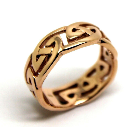 Heavy 9ct 375 Solid Gold Large Yellow, Rose Or White Celtic Ring In Your Size