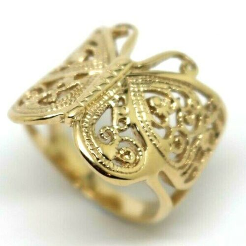 Size M 1/2 Solid 9ct Yellow Gold Filigree Butterfly Ring *Free Express Post In Oz