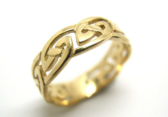 KAEDESIGNS, NEW 9CT FULL SOLID YELLOW GOLD CELTIC WEAVE RING Size 9